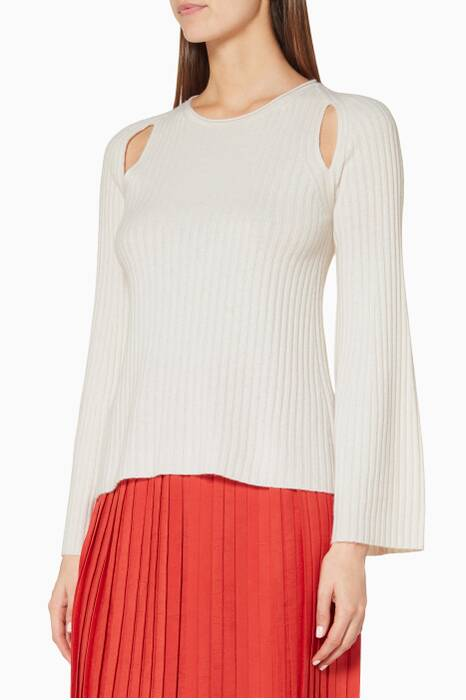 Off-White Shoulder-Slit Cashmere Sweater