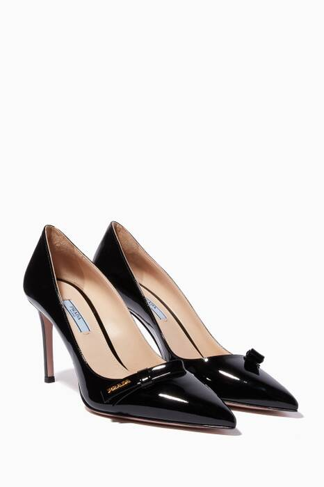 Black Patent Bow-Embellished Pumps