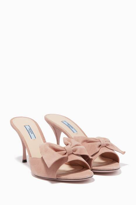 Powder-Pink Suede Bow Mules