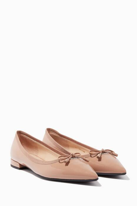 Beige Patent Leather Ballerinas
