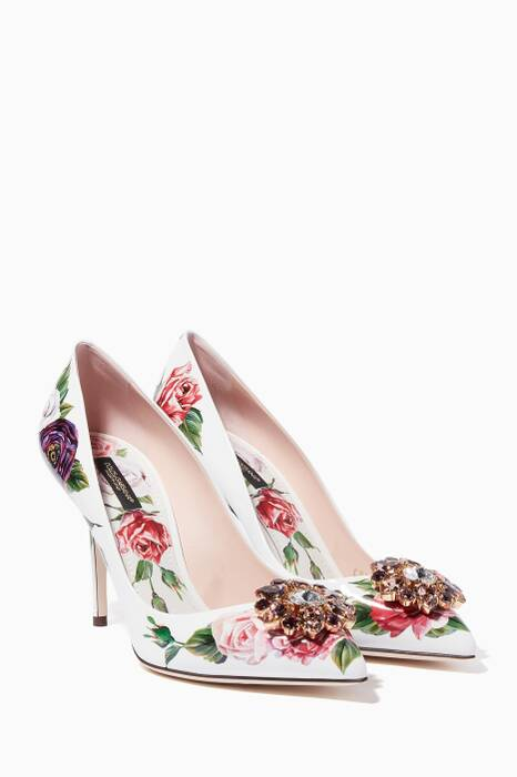 White Crystal Embellished Peony Belluci Pumps