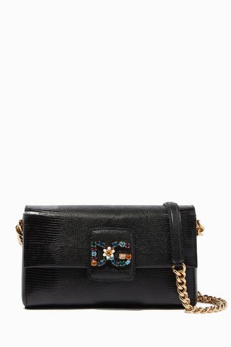 Black Small Millennials Iguana-Effect Shoulder Bag