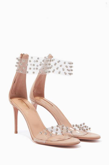Powder-Pink Studded Illusion Plexi Sandals