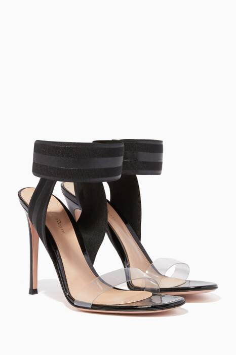 Black Leather & PVC Plexi 105 Sandals