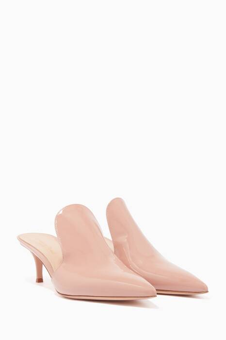 Light-Pink Patent Leather Aramis Mules