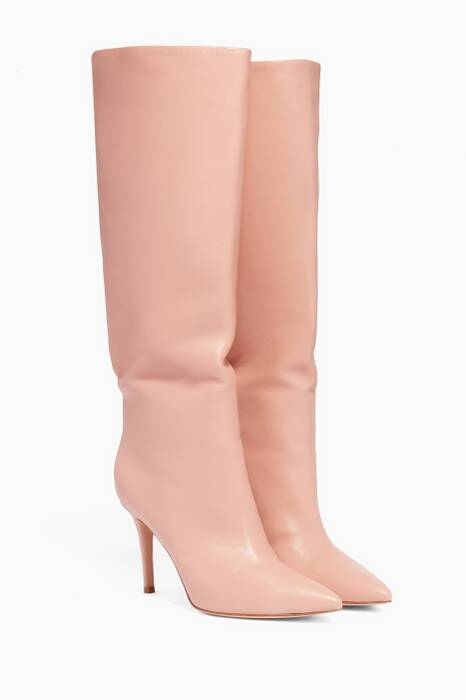 Dahlia-Pink Point-Toe Knee Boots
