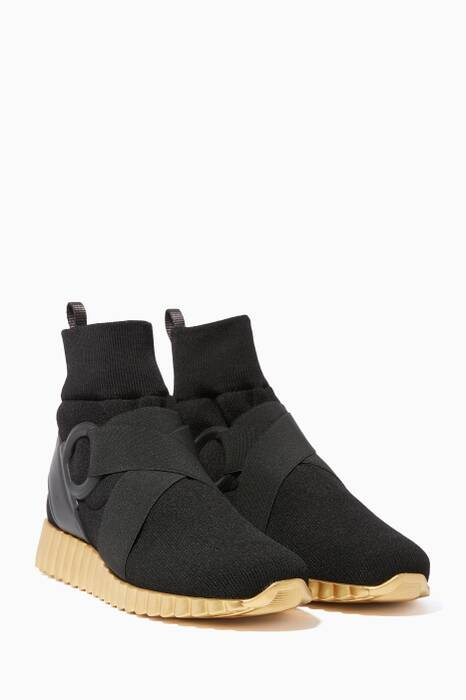 Black Wave-Sole High-Top Sneaker Shoes