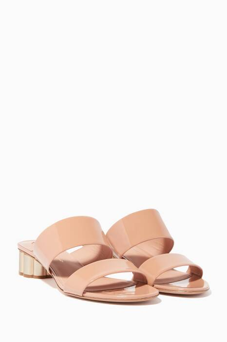 Pink Two-Banded Flower-Heel Sandals
