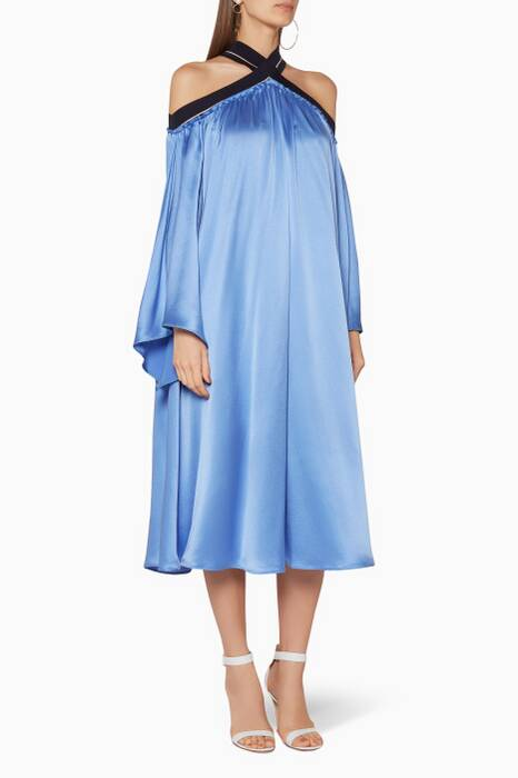 Blue Off-The-Shoulder Louella Dress