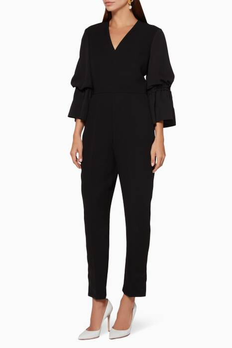 Black Cara Ruffle-Sleeve Jumpsuit