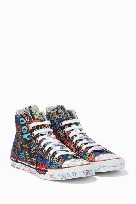 Black Graffiti High-Top Sneakers