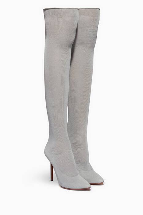 Grey Reflective Over-The-Knee Sock Boots