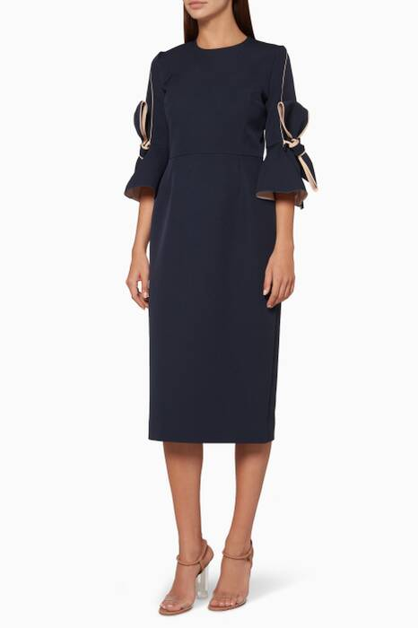 Navy Lavete Bow-Detailed Midi Dress