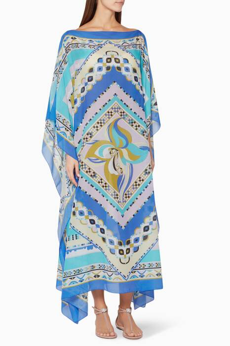 Blue Postcard Printed Beach Kaftan