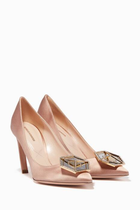 Beige Eden Jewelled Satin Pumps