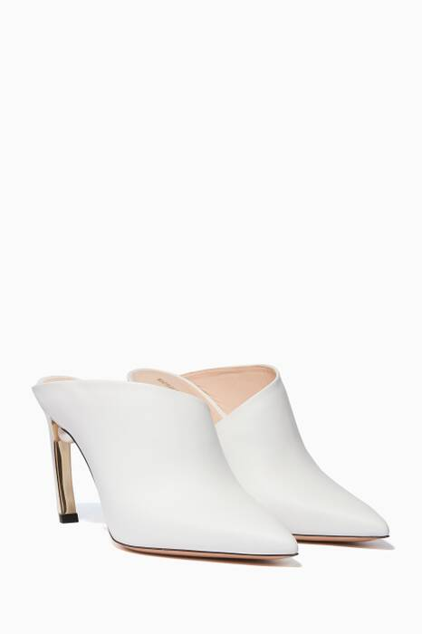 White Mira Leather Mules