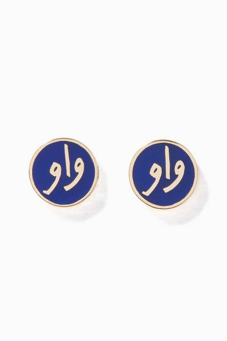 Yellow-Gold & Blue-Enamel Wow Earrings