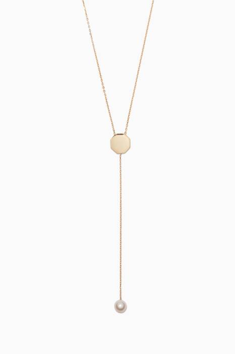 Yellow-Gold Octagon Lariat Necklace