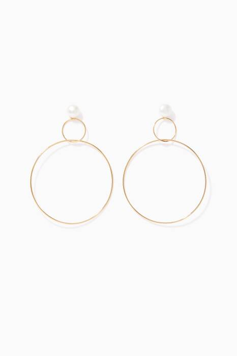 Yellow-Gold Double-Drop Pearl Hoop Earrings