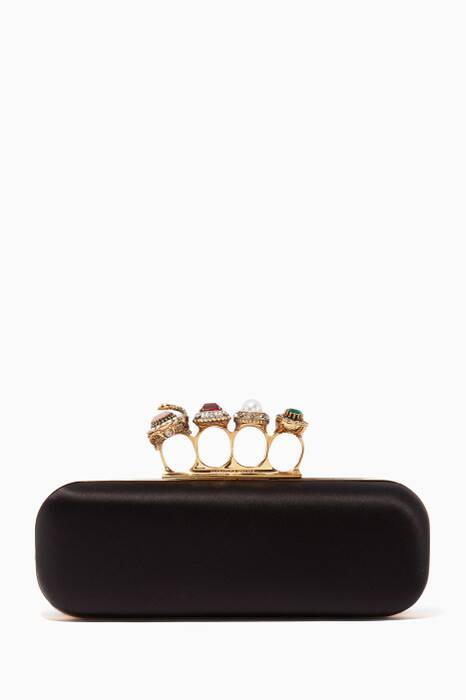 Black Jewelled Four Ring Box Clutch