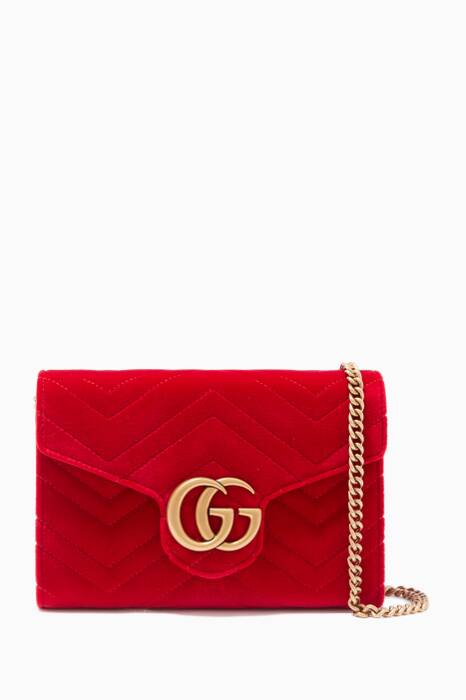 Red GG Marmont Velvet Matelassé Mini Chain Wallet