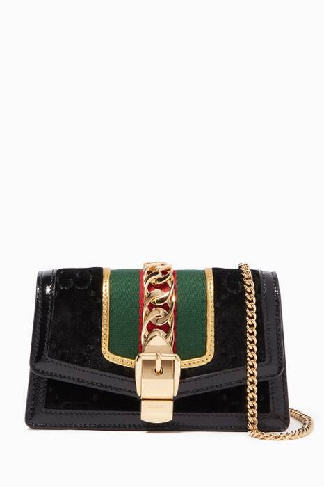 Black Supermini Sylvie Velvet Chain Wallet