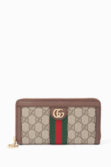 Beige Ophidia GG Zip Around Wallet