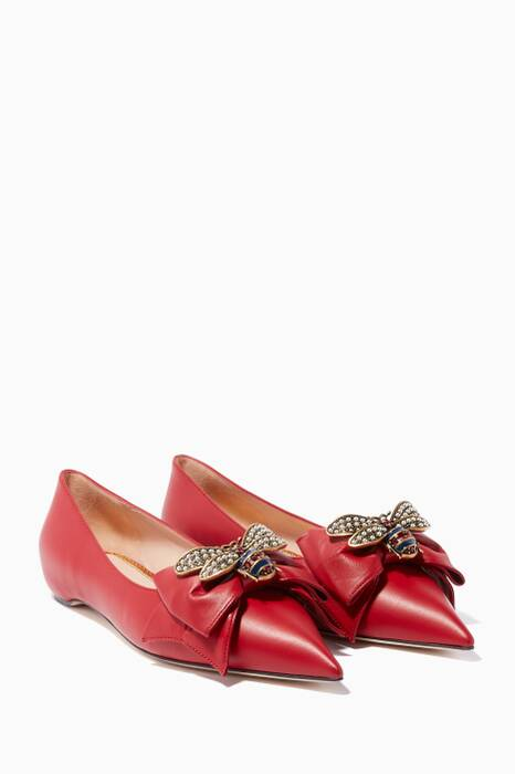Red Crystal-Bee Point-Toe Ballerina Flats