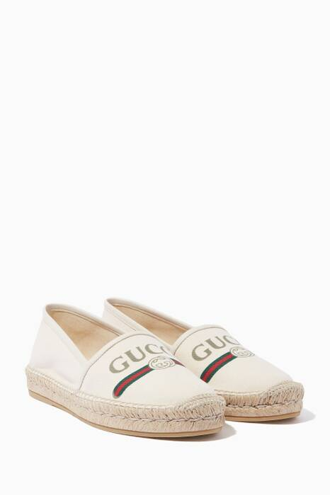 Light-Beige Pilar Logo-Print Canvas Espadrilles