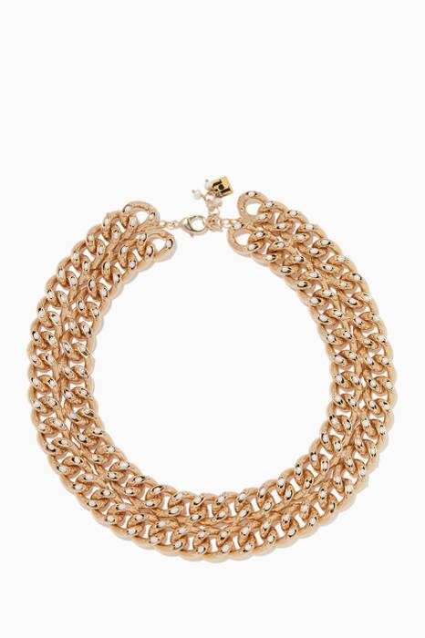 Gold Ingranaggio Double-Link Pearl Necklace