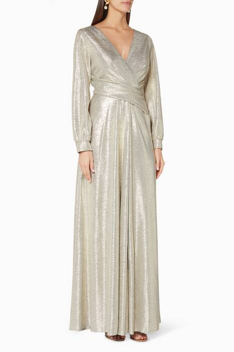 Pale-Gold Rowley Wrap-Style Gown