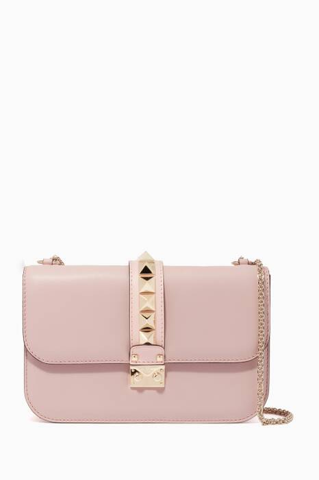 Light-Pink Medium Glam Lock Shoulder Bag