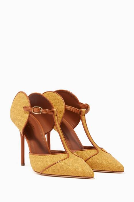 Dark-Yellow Imogen Raffia Pumps