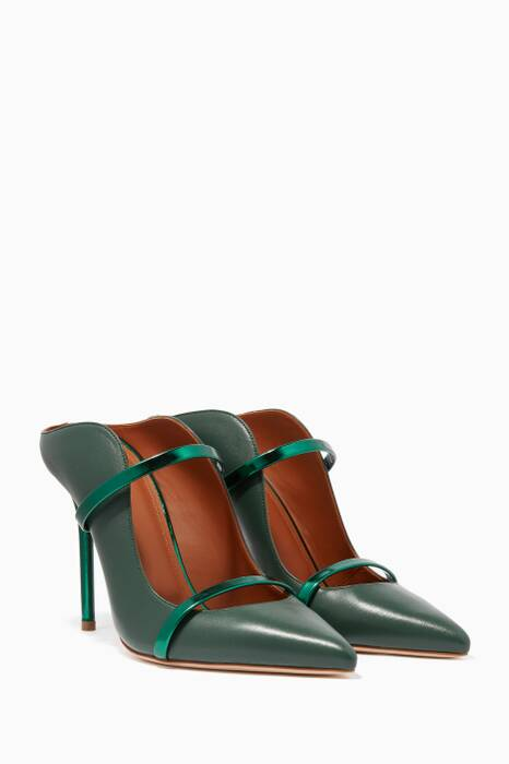 Dark-Green Maureen Leather Mules
