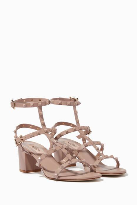 Light-Beige Rockstud Block-Heel Sandals