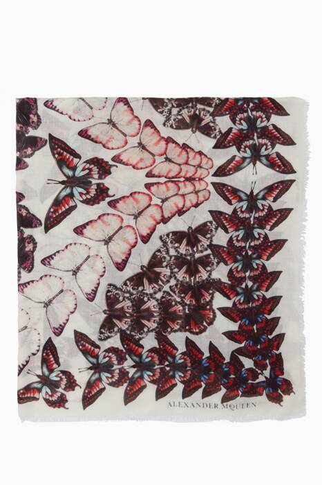 Light-Beige Butterfly-Print Scarf