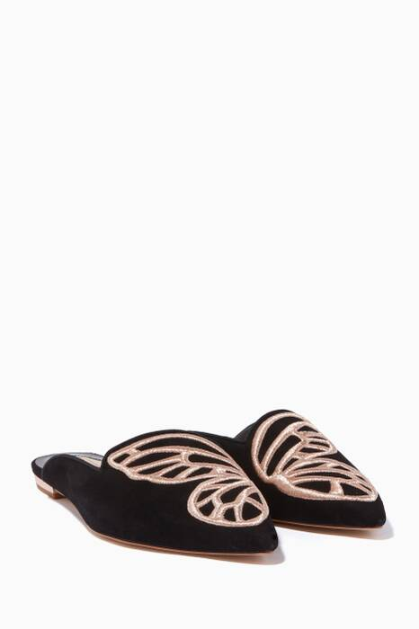 Black Embroidered Bibi Butterfly Slippers