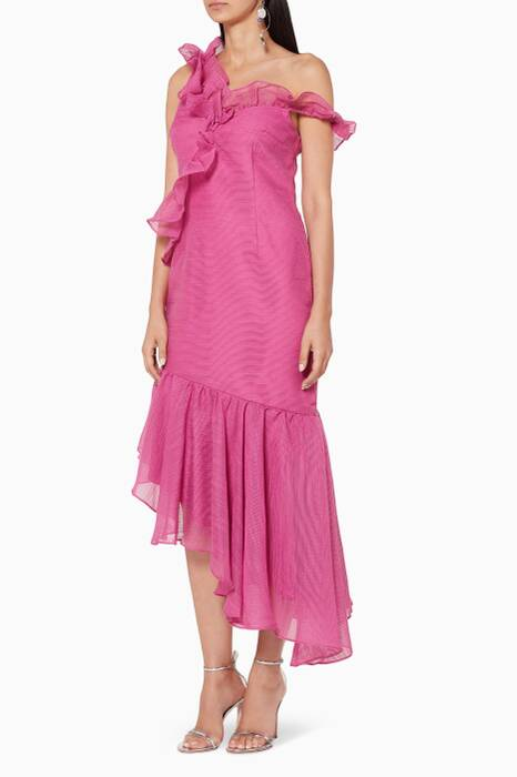 Fuchsia Only Love Ruffle-Detail Dress