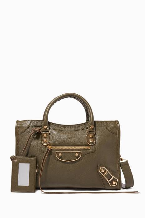 Olive-Green Small Classic City Tote Bag