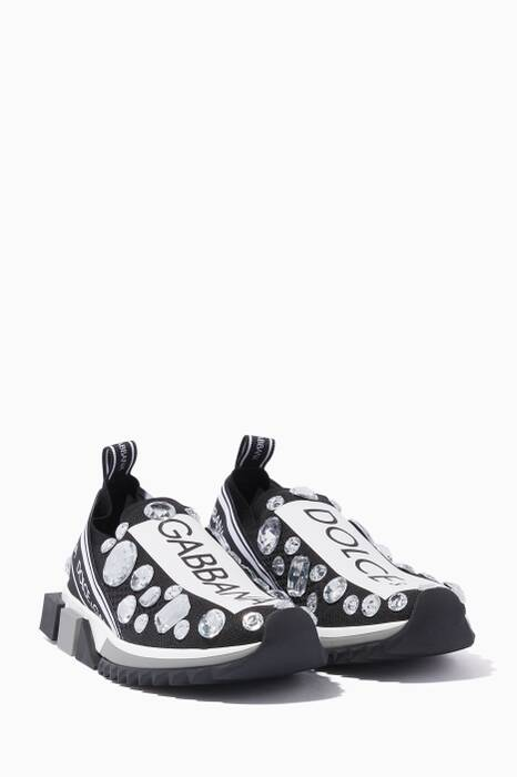 Black & White Sorrento Crystal Sneakers