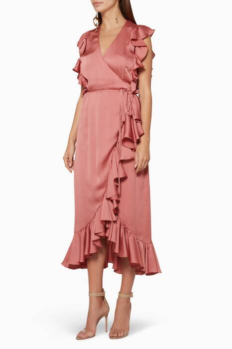 Rosé Anna Ruffle Wrap Midi Dress