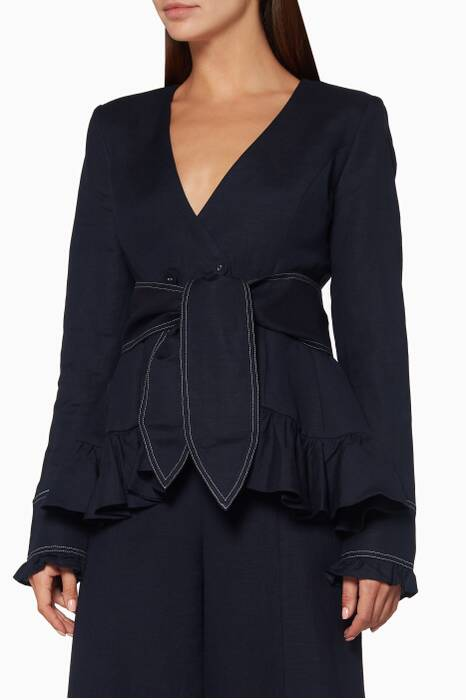 Navy Delon Frill Jacket