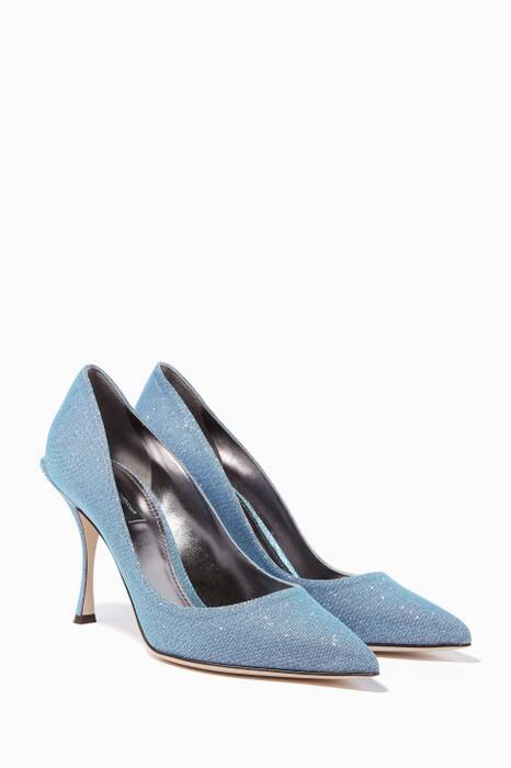 Azure-Blue Lori 90 Point-Toe Pumps