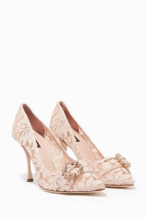 Rose-Carne Lace Lori Pumps