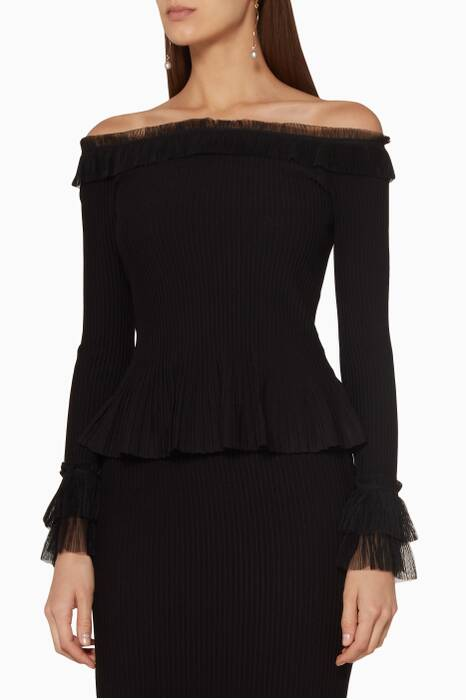 Black Off-The-Shoulder Peplum Top