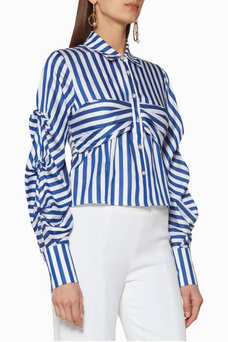 Navy Striped Tuck-Sleeve Shirt