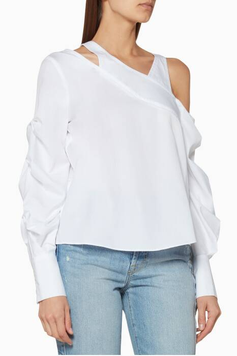 White Pleated Asymmetric Top