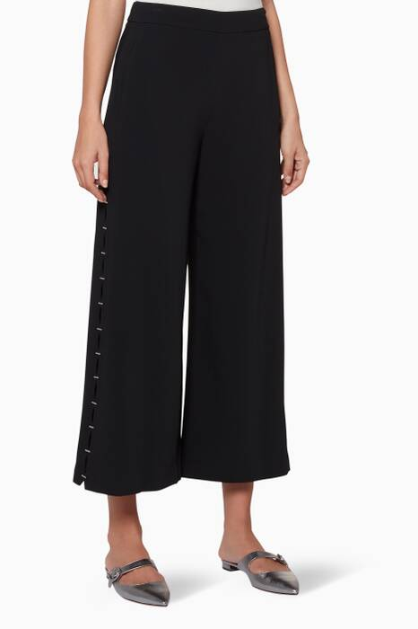 Black Stapled Crepe Cropped Pants