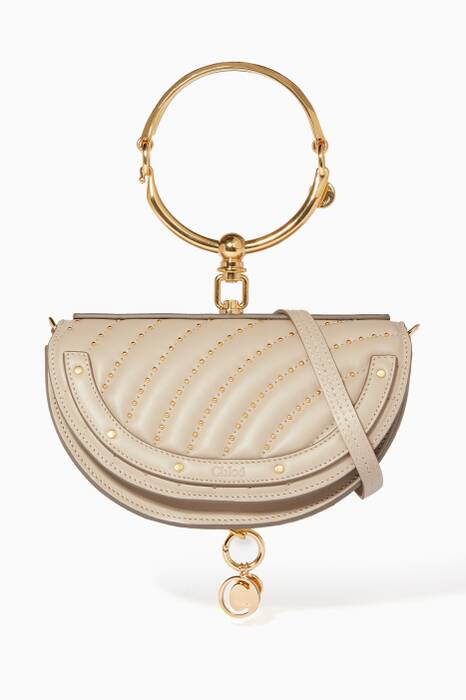 Pastel-Grey Nile Minaudière Quilted Studs Bag