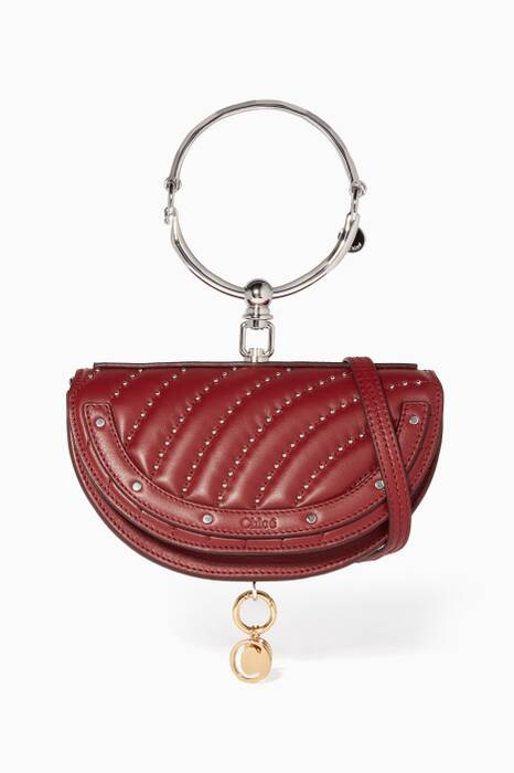 Plum Purple Nile Minaudière Quilted Studs Bag